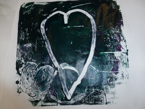Gelli plate monoprint created by Izzy